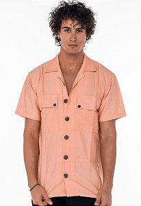 Camisa de Botão Linho Salmão