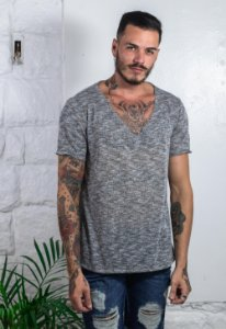 Camiseta V Tricô Melange