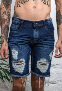 Bermuda Jeans Destroyed Azul
