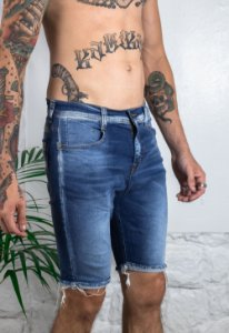 Bermuda Jeans Azul Barra Destroyed