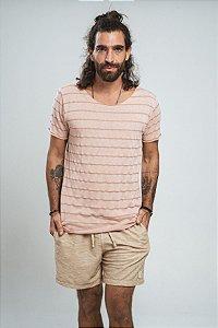 Camiseta Gola Canoa Tricô Ocean Rosa