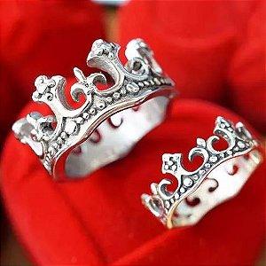 Par De Alianças Prata 950 Coroas Rei Rainha - Aj051