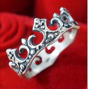 Anel Aliança Feminino De Prata 950 Coroa Rainha - Mac007