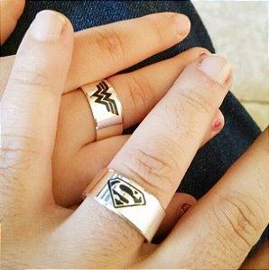 Par De Alianças De Prata Superman Supergirl - Aj072