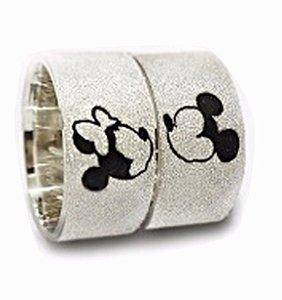 Par de Aliança em Prata Minnie e Mickey - Aj012