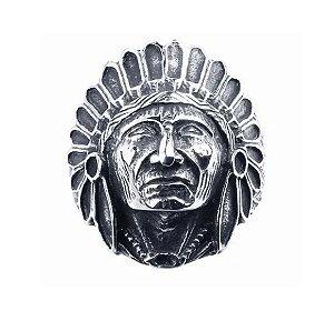 Anel De Prata 950 Chefe Da Tribo Índio Indígena Tribal Xamã