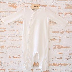 Pijama Orgânico Com Pezinho - Branco