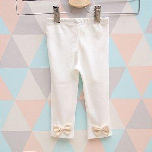 Calça em algodão orgânico com lacinho - Branca