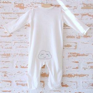 Pijama Orgânico Com Pezinho - Bordado Nuvem
