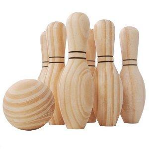 Jogo de boliche em madeira