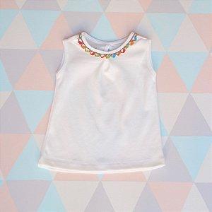 Camiseta em algodão orgânico - Regata - Renda de bilro