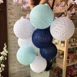 Cordão de bolinhas decorativas com LED - Azul misto