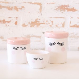 Kit de higiene em cerâmica 3 peças - Cílios - Rosa