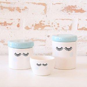 Kit de higiene em cerâmica 3 peças - Cílios - Azul