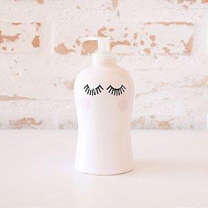 Saboneteira líquida/dispenser para álcool gel em cerâmica - Cílios
