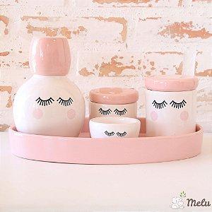 Kit de Higiene em Cerâmica 5 peças com Moringa - Cílios - Rosa