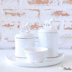 Kit de Higiene em Cerâmica 4 Peças - Cavalo Branco
