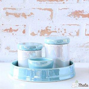 Kit de Higiene em Cerâmica 4 Peças - Azul Turquesa Perolizado