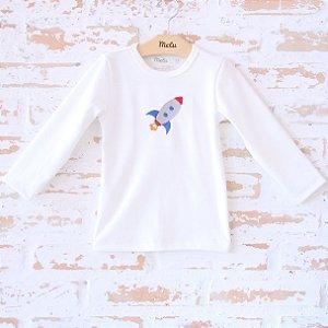 Camiseta Orgânica com Bordado Foguete - Manga Longa