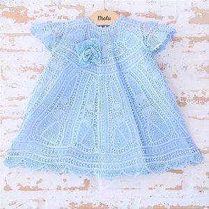 Vestido de Renda Renascença Azul - Amora - 6 a 9 meses
