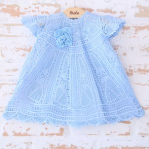 Vestido de Renda Renascença Azul - Amora