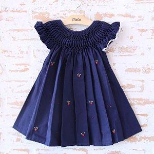 Vestido casinha de abelha - Azul