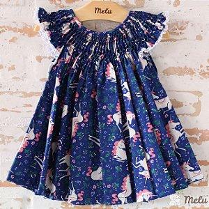 Vestido Casinha de Abelha - Azul Unicórnio