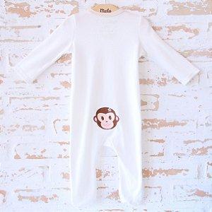 Pijama orgânico - com pezinho - Bordado Macaquinha