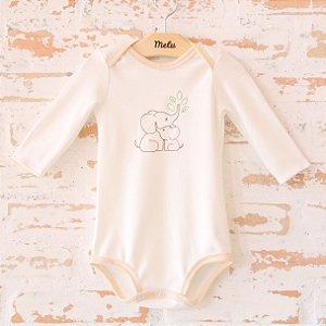 Body orgânico - Envelope Manga Longa - Bordado Elefantes