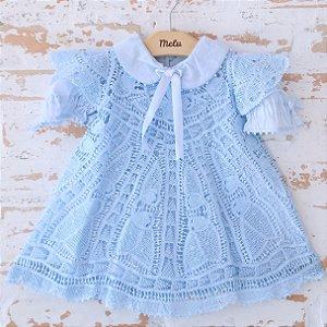Vestido com Renda Renascença Azul - Raquel