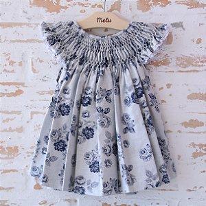 Vestido Casinha de Abelha - azul florido