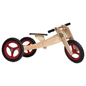Bicicleta sem pedal Woodbike 3 em 1 - Vermelha
