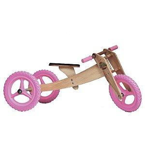 Bicicleta sem pedal Woodbike 3 em 1 - Rosa