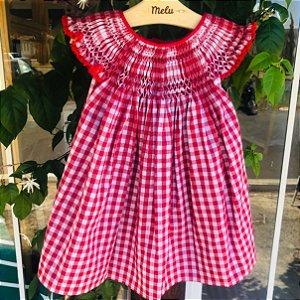 Vestido Casinha de Abelha - Vermelho Xadrez