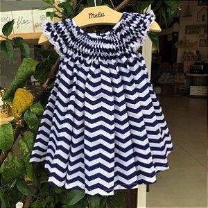 Vestido Casinha de Abelha - Chevron azul marinho