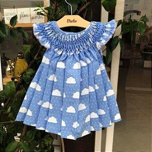 Vestido Casinha de Abelha - Chuva de benção - azul