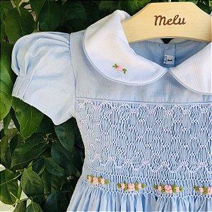 Vestido casinha de abelha e gola bordada - azul - modelo Clara