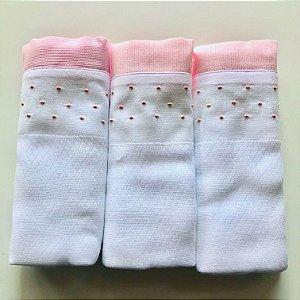 Kit com 3 fraldas bordadas à mão - poá rosa