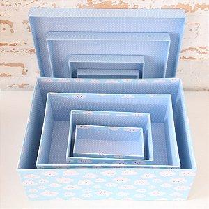 Caixa de Presente - retangular baixa Nuvem ( 1 unidade 16 x 26 x 4.8cm)
