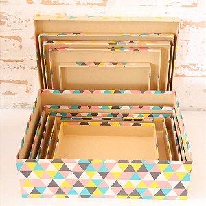 Caixa de Presente - retangular Baixa Kraft Triângulo Colorido (1 unidade 21 x 31 x 15cm)