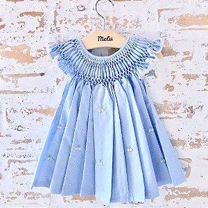 Vestido Casinha de Abelha - Azul de poá