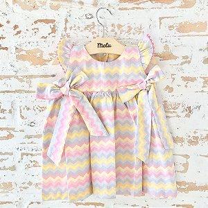 Vestido com laços - chevron colorido