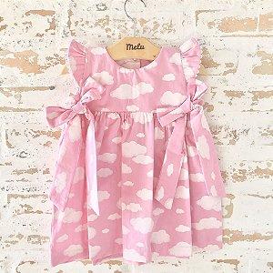 Vestido com laços - chuva de amor - rosa