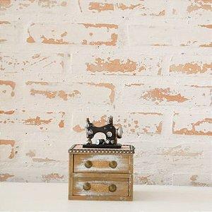 Máquina de Costura em madeira com duas gavetinhas
