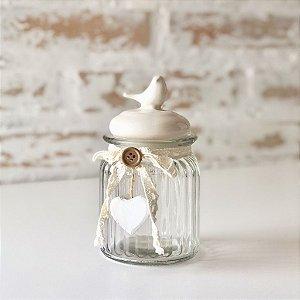 Pote de vidro com tampa cerâmica - Pássaro