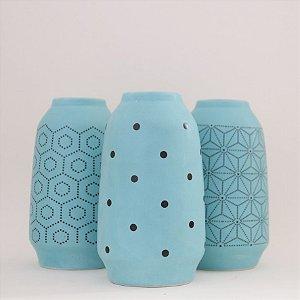 3 Mini vasos em cerâmica - azul