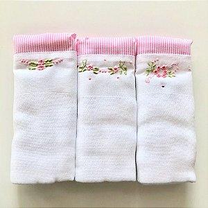 Kit com 3 fraldas - flores - barrado rosa listrado