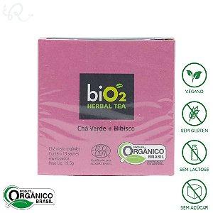 Chá Verde com Hibisco Orgânico 13 sachês - biO2 Organic