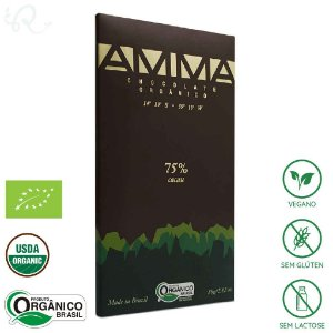 Chocolate Amma Orgânico 75% Cacau 80g - Amma Chocolate