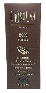 Chocolate Orgânico 80% Cacau Tablete 80g - Chokolah